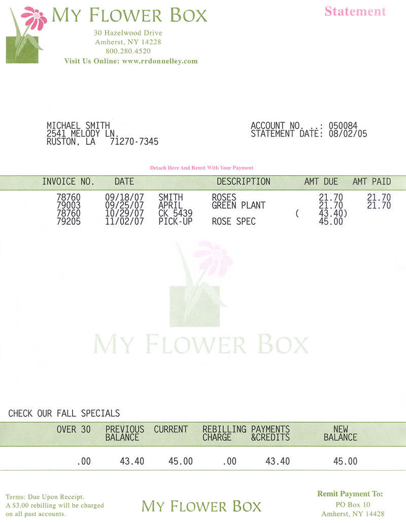 Floral Accounting Systems Inc FAS Laser Invoice High Resolution - Florist invoice